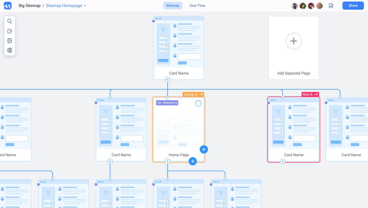 FlowMapp UX tools — Sitemap, User Flow, CJM, Personas
